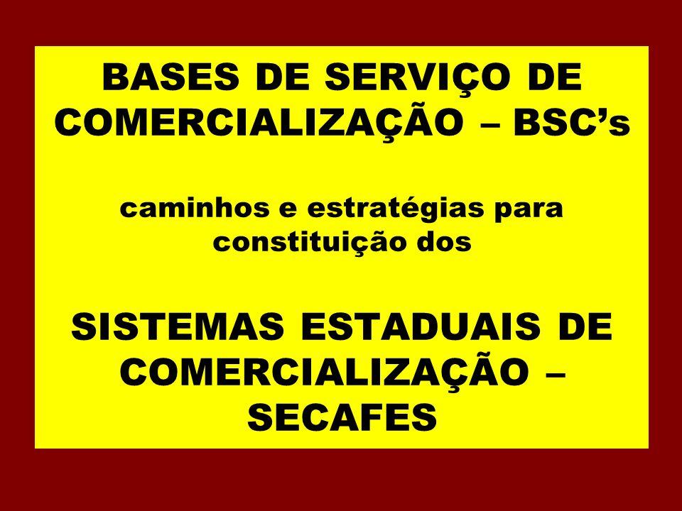 BASES DE SERVIÇO DE COMERCIALIZAÇÃO – BSC's caminhos e estratégias para constituição dos SISTEMAS ESTADUAIS DE COMERCIALIZAÇÃO – SECAFES