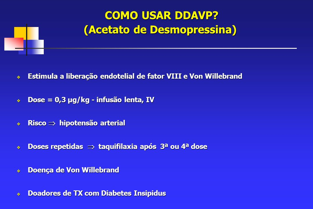 COMO USAR DDAVP (Acetato de Desmopressina)