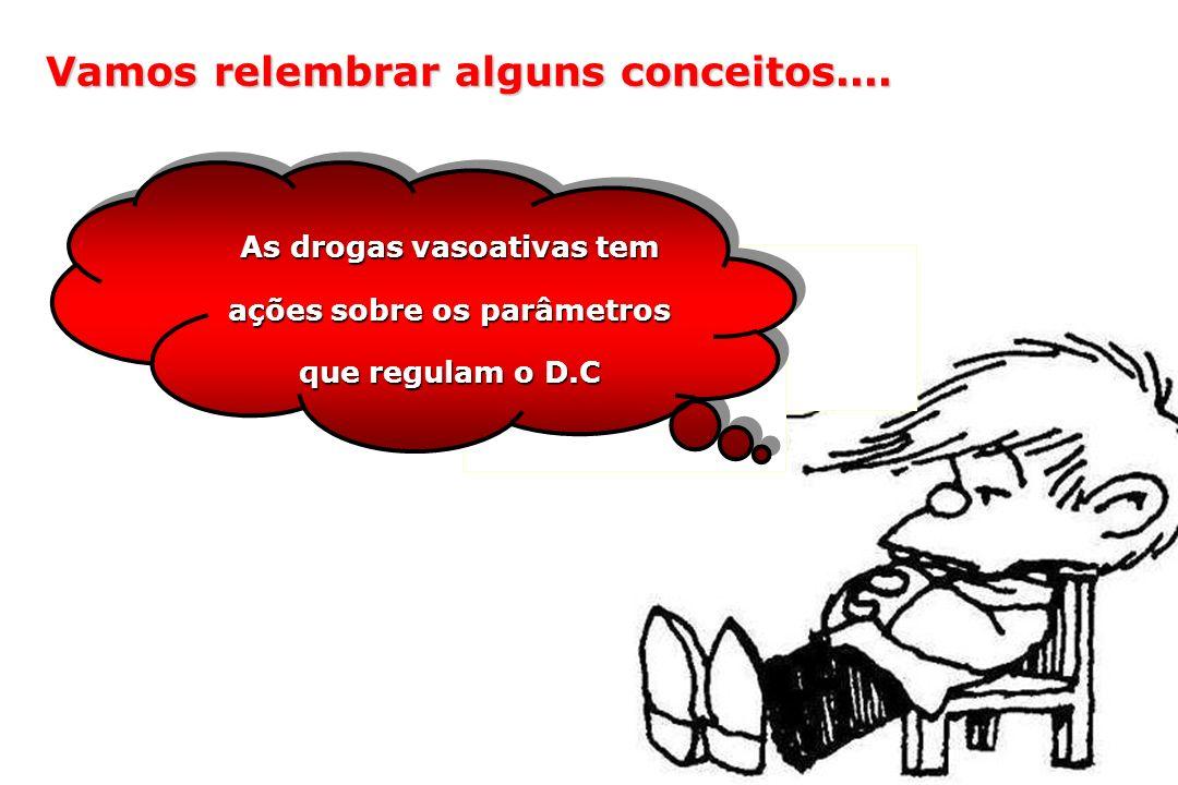 As drogas vasoativas tem ações sobre os parâmetros que regulam o D.C