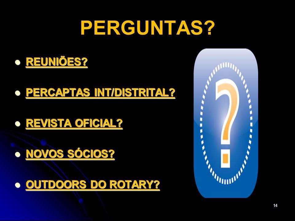 PERGUNTAS REUNIÕES PERCAPTAS INT/DISTRITAL REVISTA OFICIAL