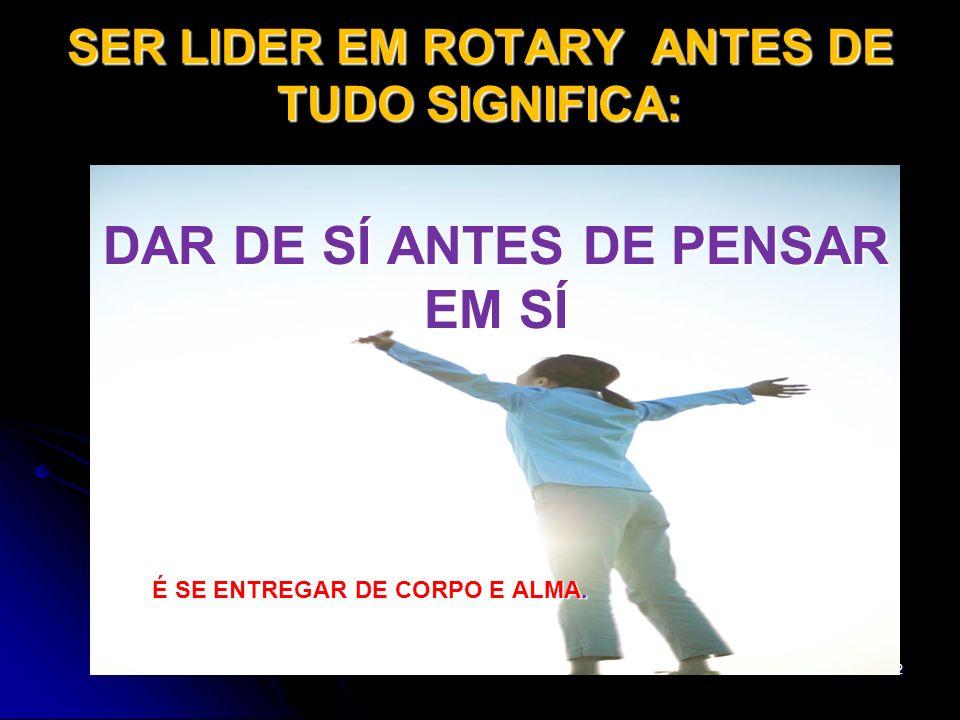 SER LIDER EM ROTARY ANTES DE TUDO SIGNIFICA: