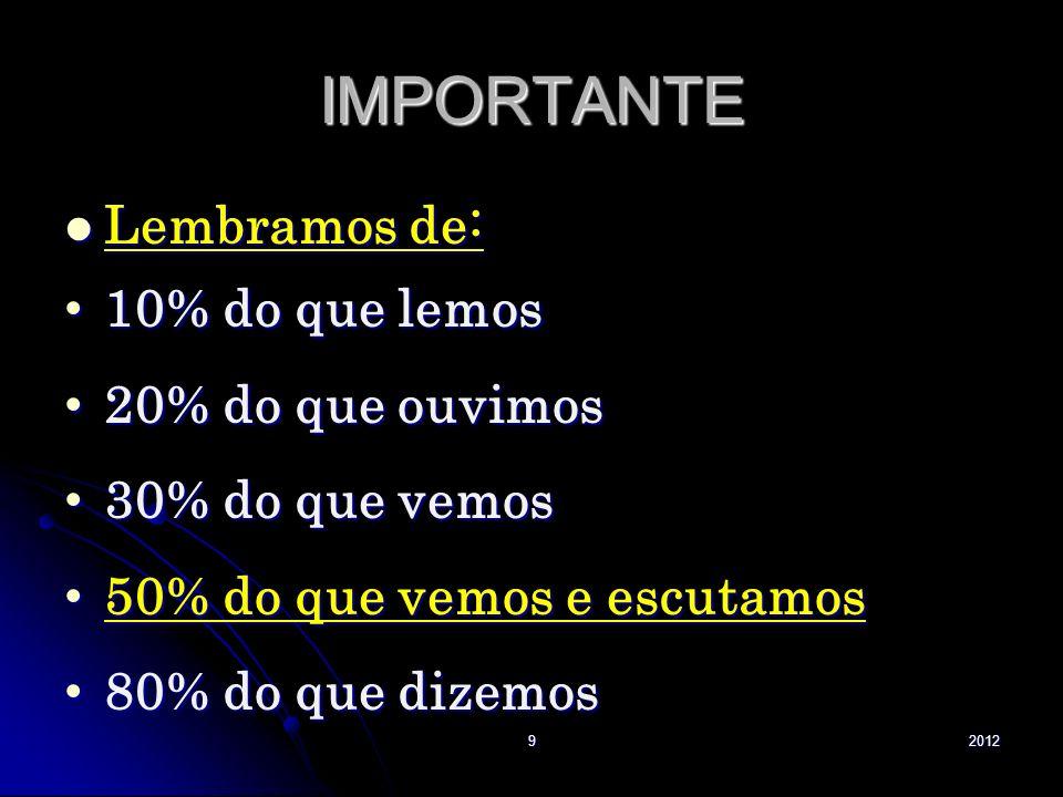 IMPORTANTE Lembramos de: 10% do que lemos 20% do que ouvimos