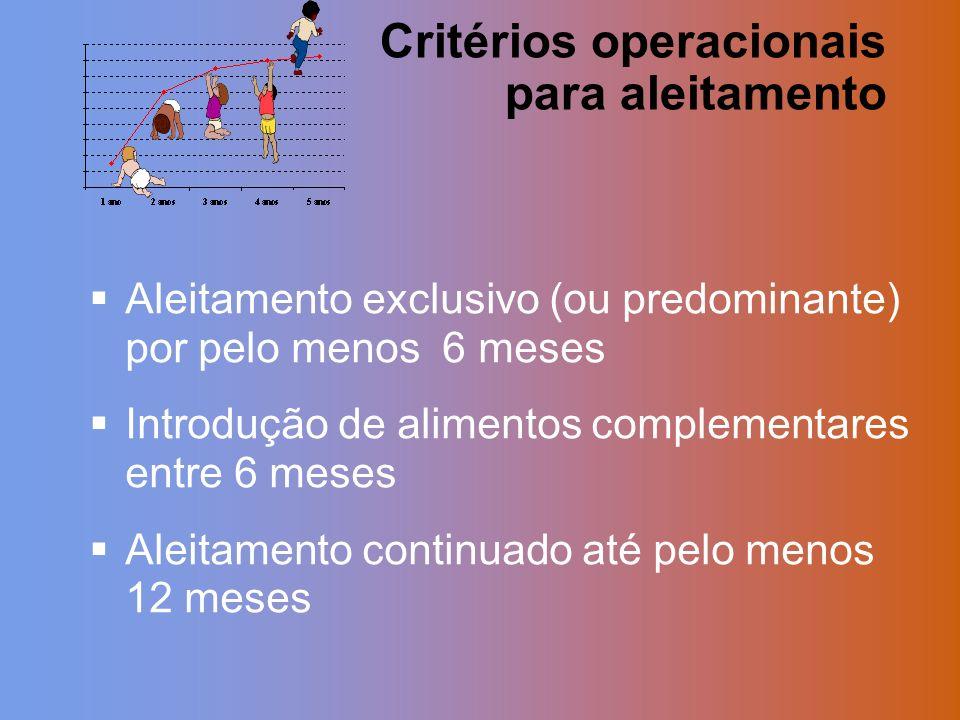 Critérios operacionais para aleitamento
