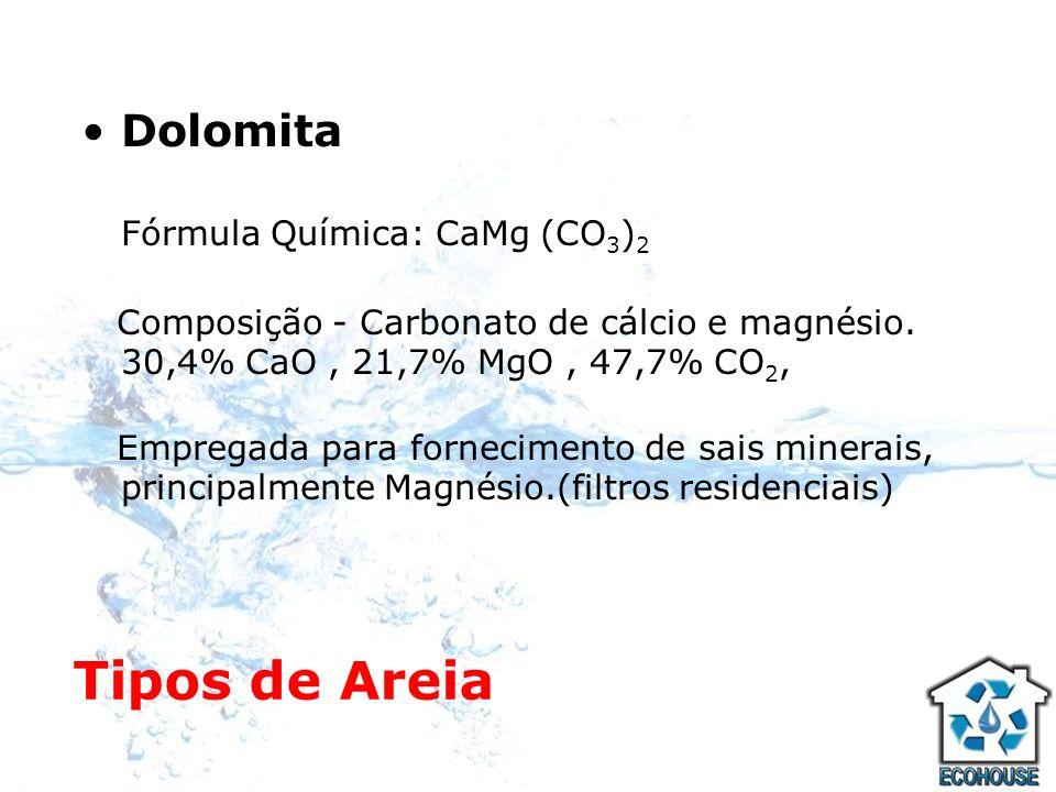 Tipos de Areia Dolomita Fórmula Química: CaMg (CO3)2