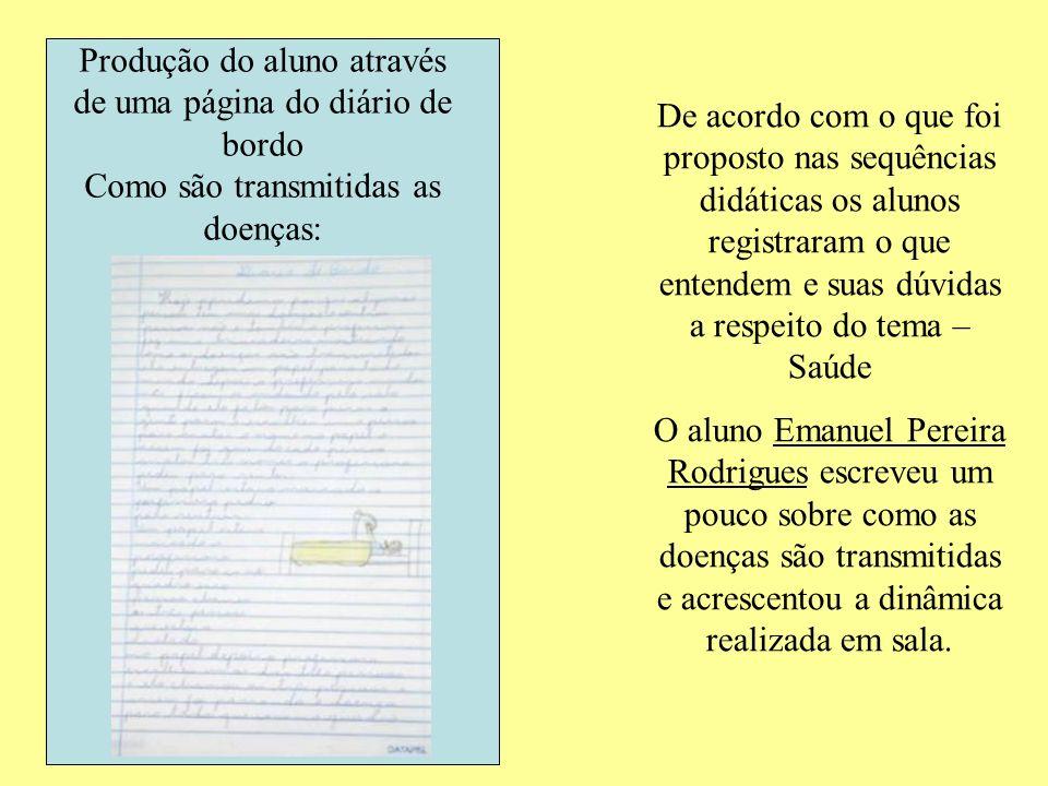 Produção do aluno através de uma página do diário de bordo