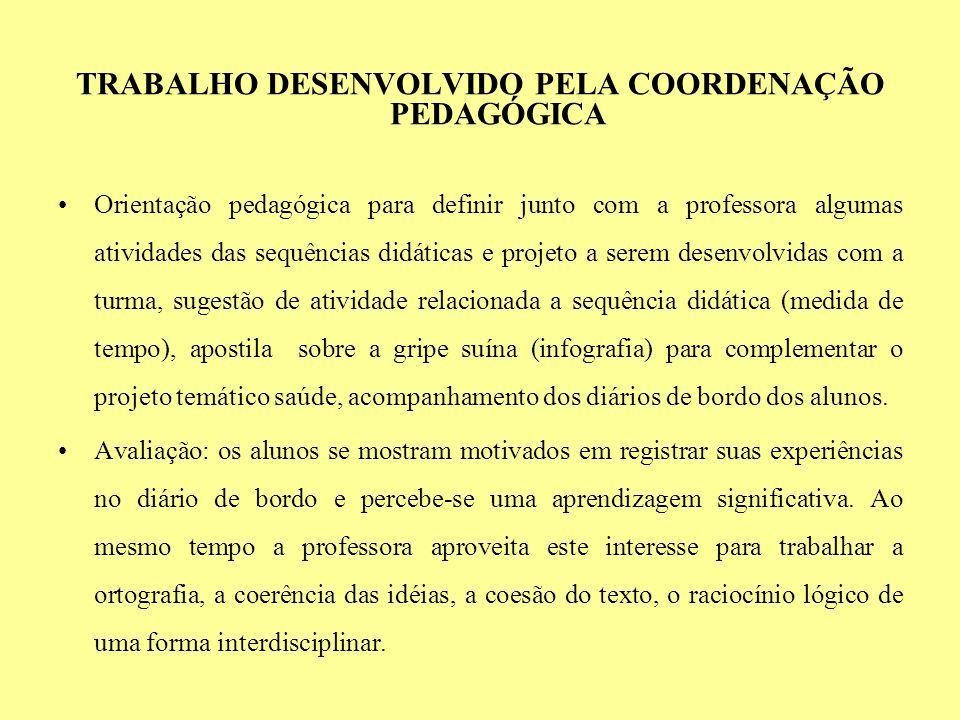 TRABALHO DESENVOLVIDO PELA COORDENAÇÃO PEDAGÓGICA