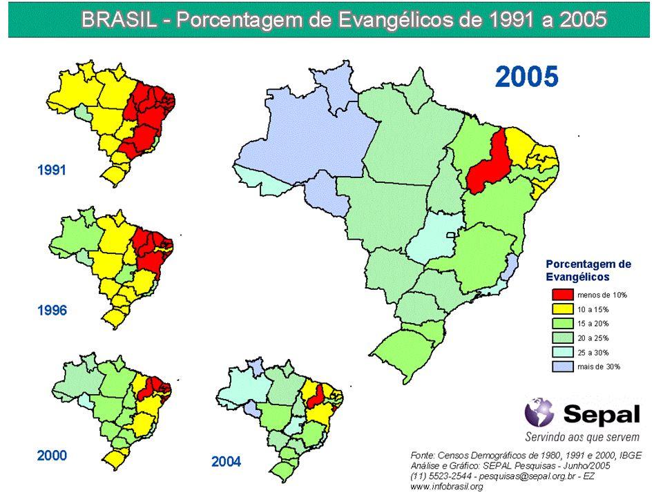 Fazendo um retrospecto , os 'mapas nos mostram a progressão da porcentagem de evangélicos na população desde 1991 até 2004.