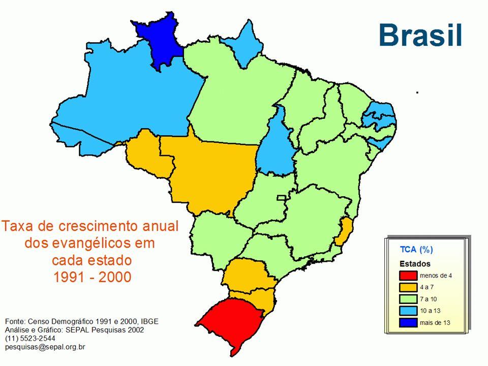 Este mapa mostra a taxa de crescimento anual dos evangélicos obtida nos Censos de 1991 e 2000, em cada estado do país. O Estado de Roraima tem a taxa de crescimento (TCA) maior do que qualquer outro estado, 13,41%. O Rio Grande do Sul se destaca como o estado com a menor taxa de crescimento (TCA) do país, 3,15%.