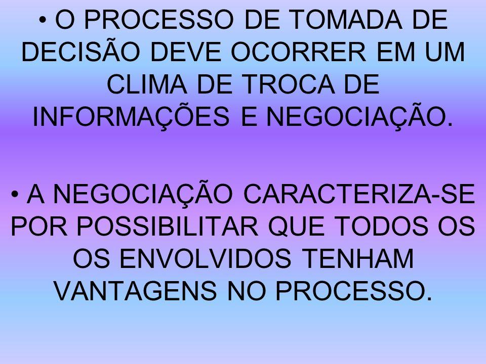 • O PROCESSO DE TOMADA DE DECISÃO DEVE OCORRER EM UM CLIMA DE TROCA DE INFORMAÇÕES E NEGOCIAÇÃO.
