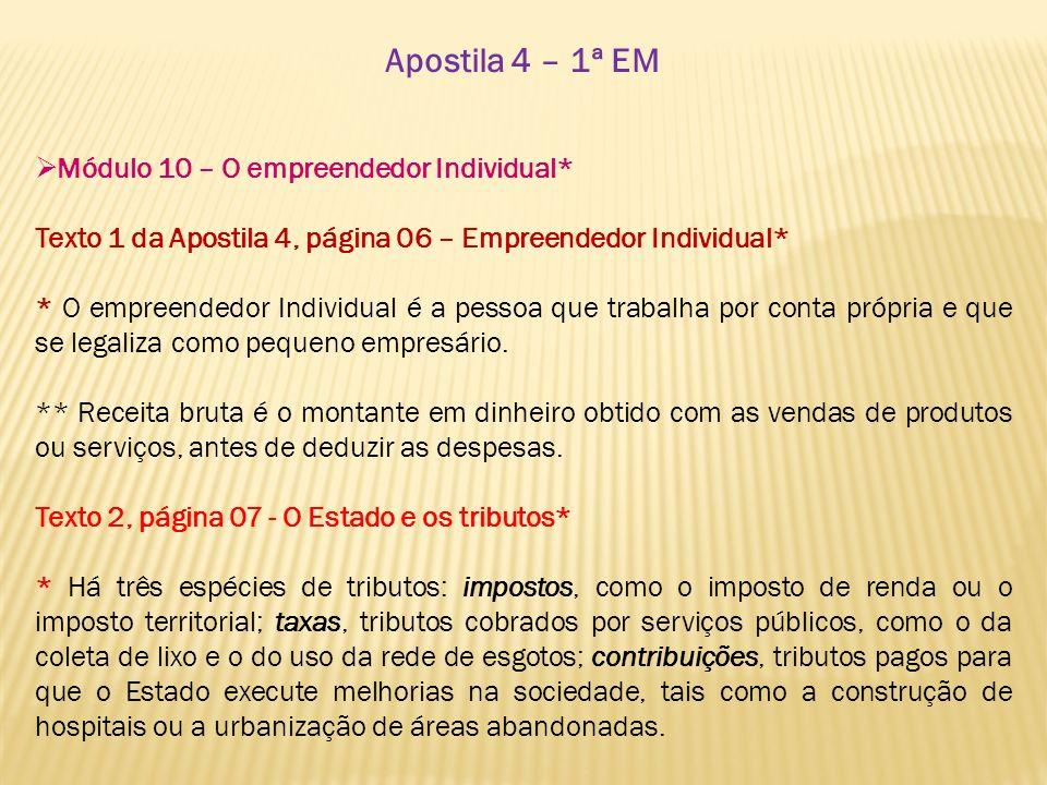 Apostila 4 – 1ª EM Módulo 10 – O empreendedor Individual*
