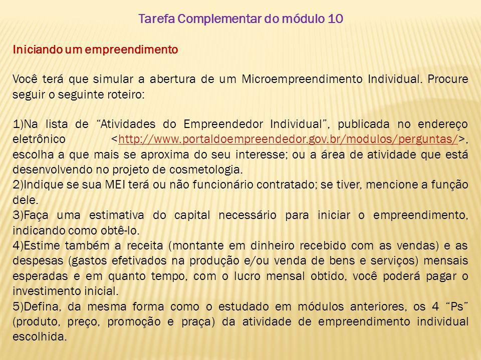Tarefa Complementar do módulo 10