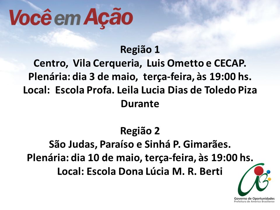 Região 1 Centro, Vila Cerqueria, Luis Ometto e CECAP