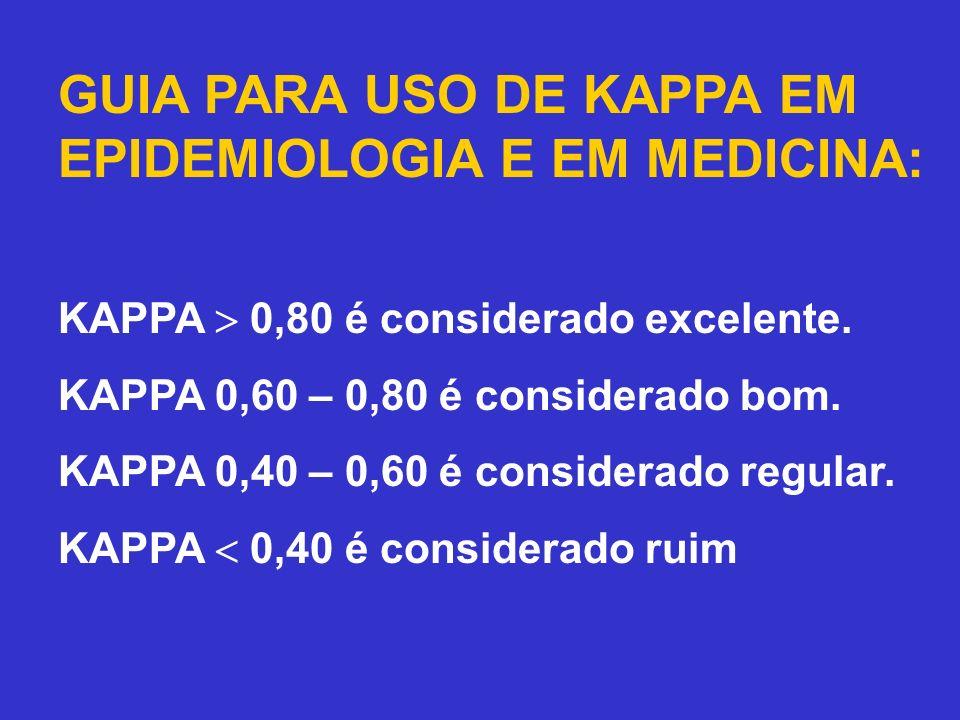 GUIA PARA USO DE KAPPA EM EPIDEMIOLOGIA E EM MEDICINA: