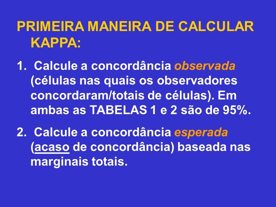 PRIMEIRA MANEIRA DE CALCULAR KAPPA:
