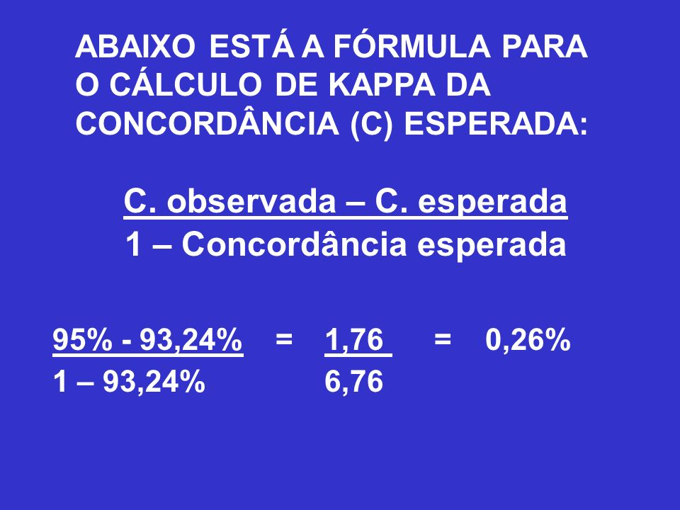 C. observada – C. esperada 1 – Concordância esperada