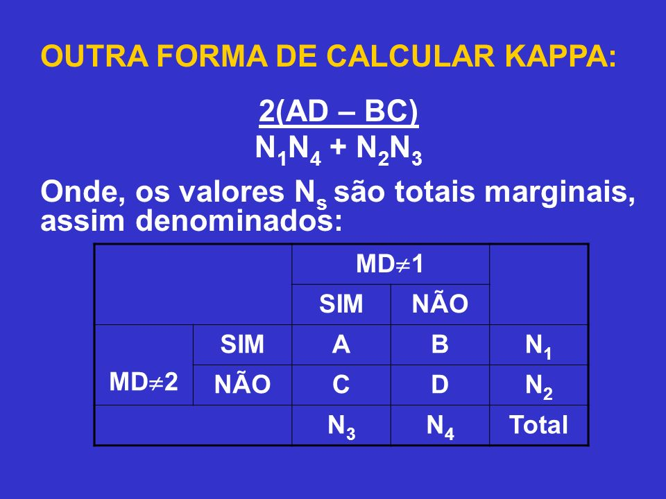 OUTRA FORMA DE CALCULAR KAPPA: 2(AD – BC) N1N4 + N2N3
