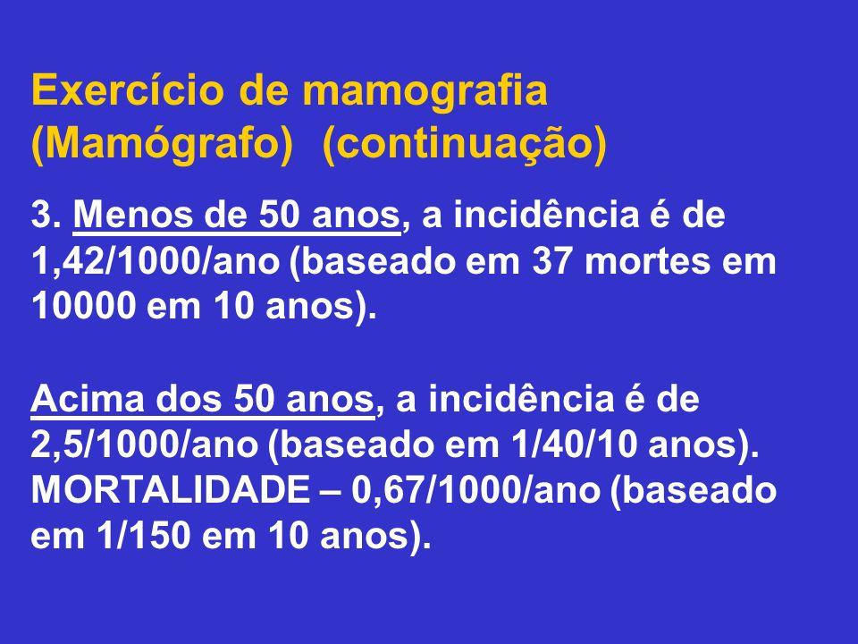 Exercício de mamografia (Mamógrafo) (continuação)