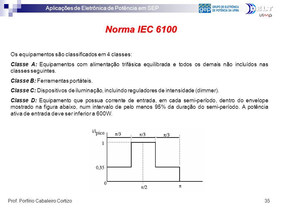 Norma IEC 6100 Os equipamentos são classificados em 4 classes: