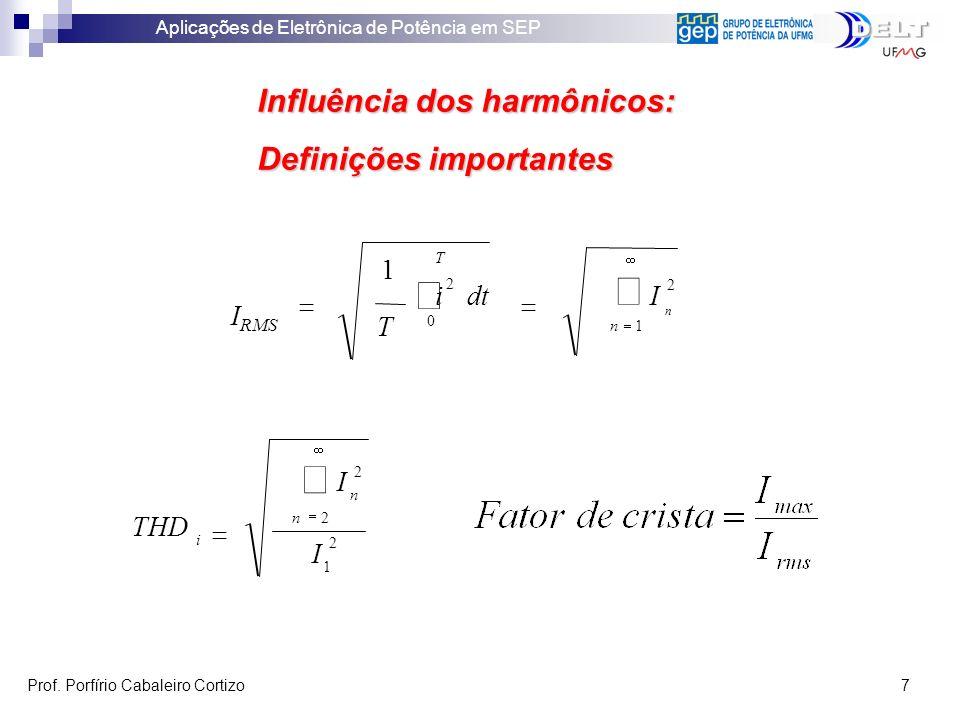 ò å Influência dos harmônicos: Definições importantes dt IRMS T THD I