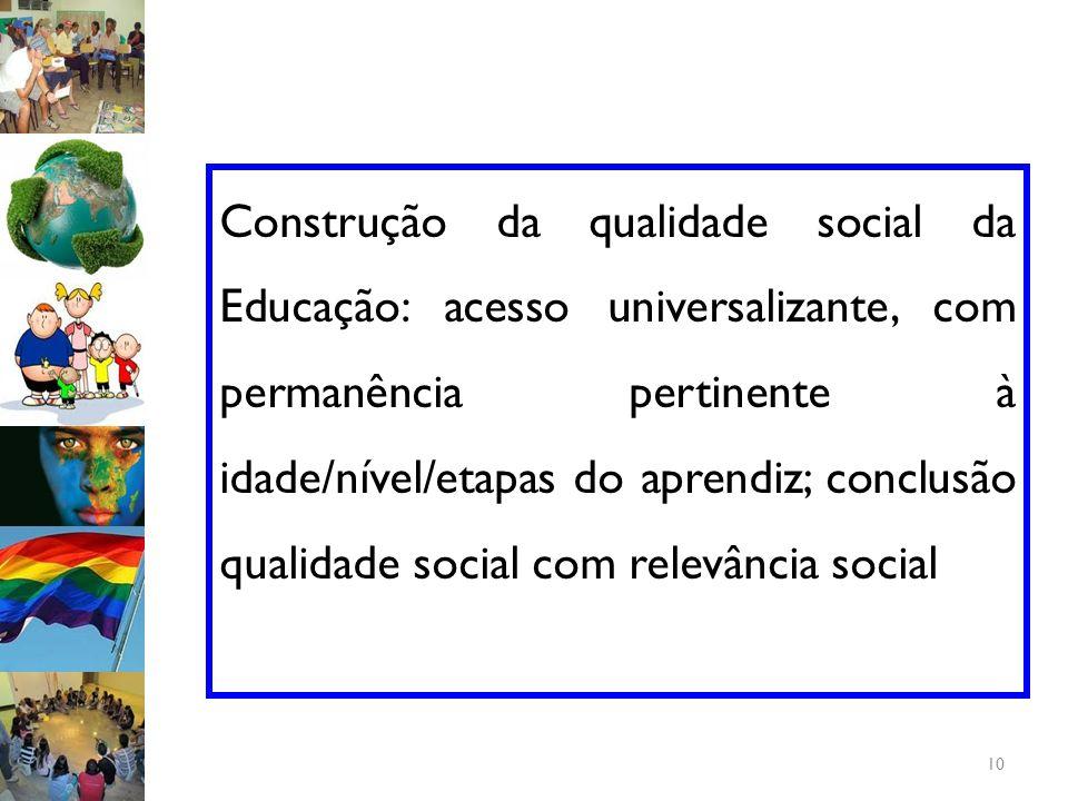 Construção da qualidade social da Educação: acesso universalizante, com permanência pertinente à idade/nível/etapas do aprendiz; conclusão qualidade social com relevância social