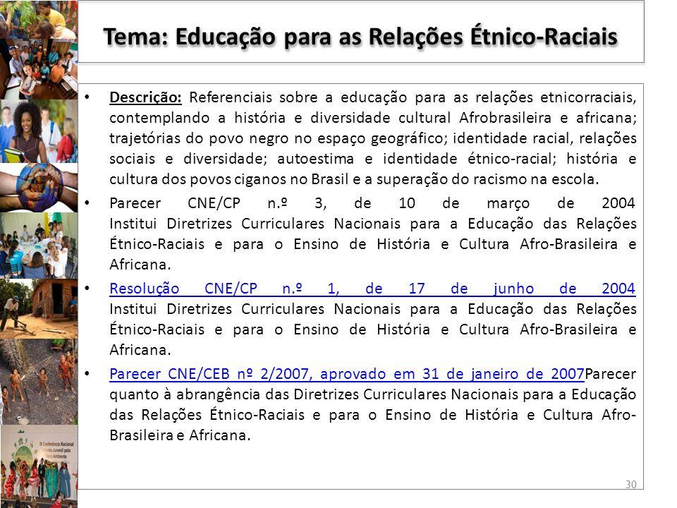 Tema: Educação para as Relações Étnico-Raciais