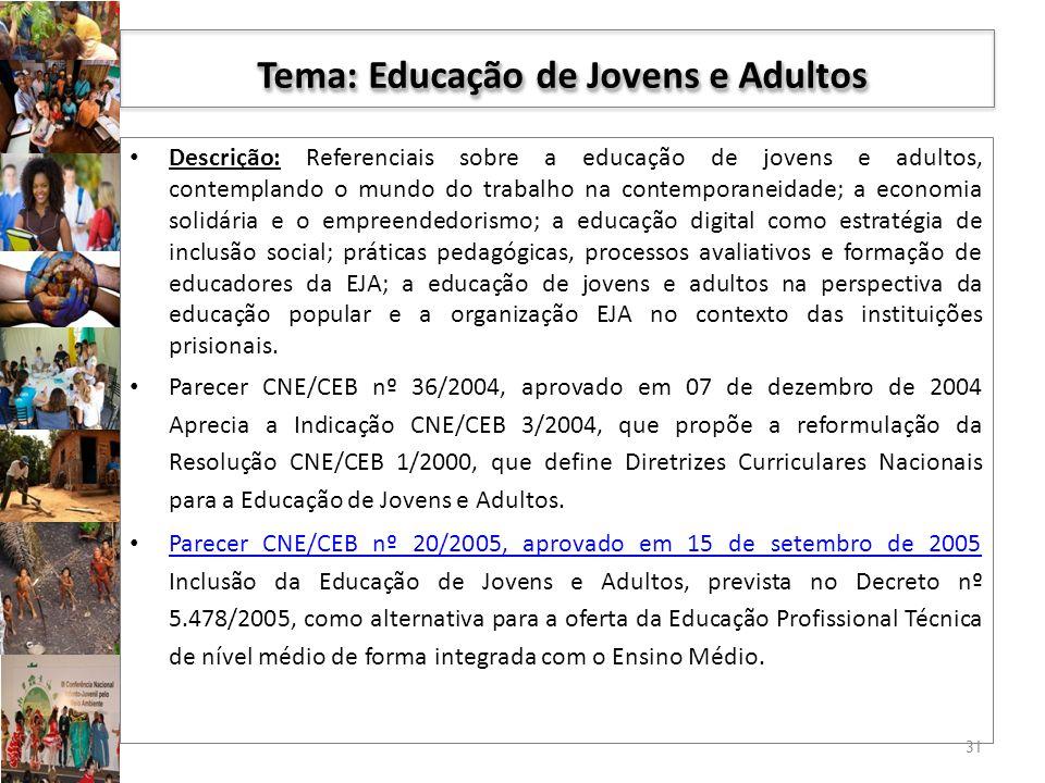 Tema: Educação de Jovens e Adultos