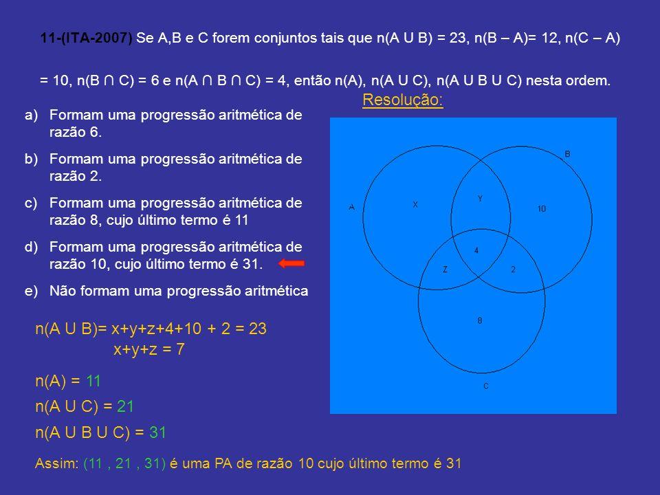 Resolução: n(A U B)= x+y+z+4+10 + 2 = 23 x+y+z = 7 n(A) = 11