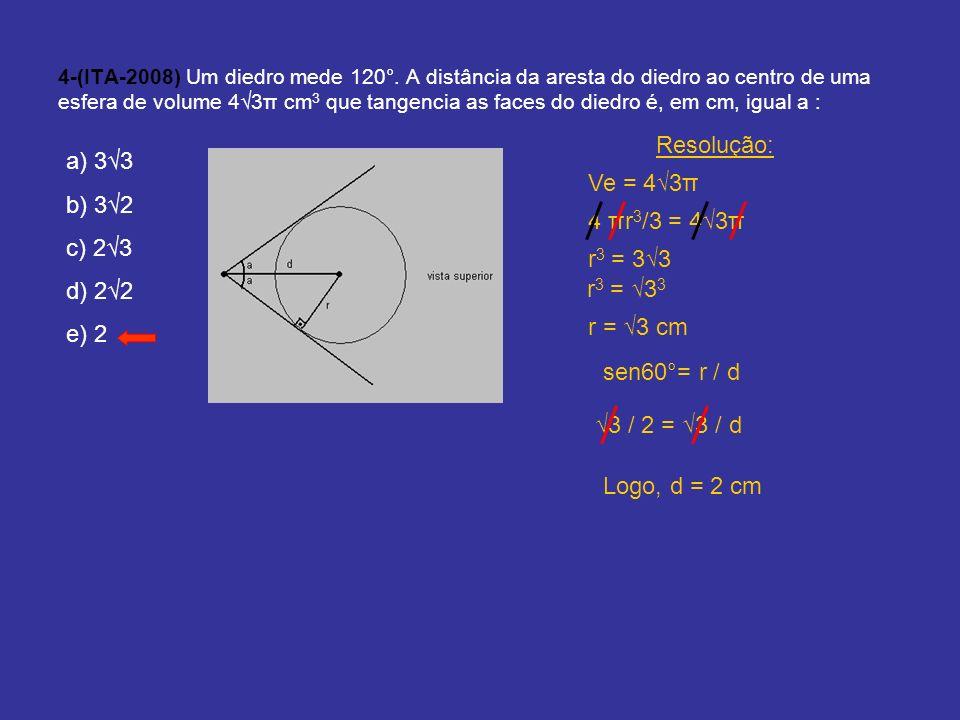 Resolução: a) 3√3 b) 3√2 Ve = 4√3π c) 2√3 d) 2√2 4 πr3/3 = 4√3π e) 2