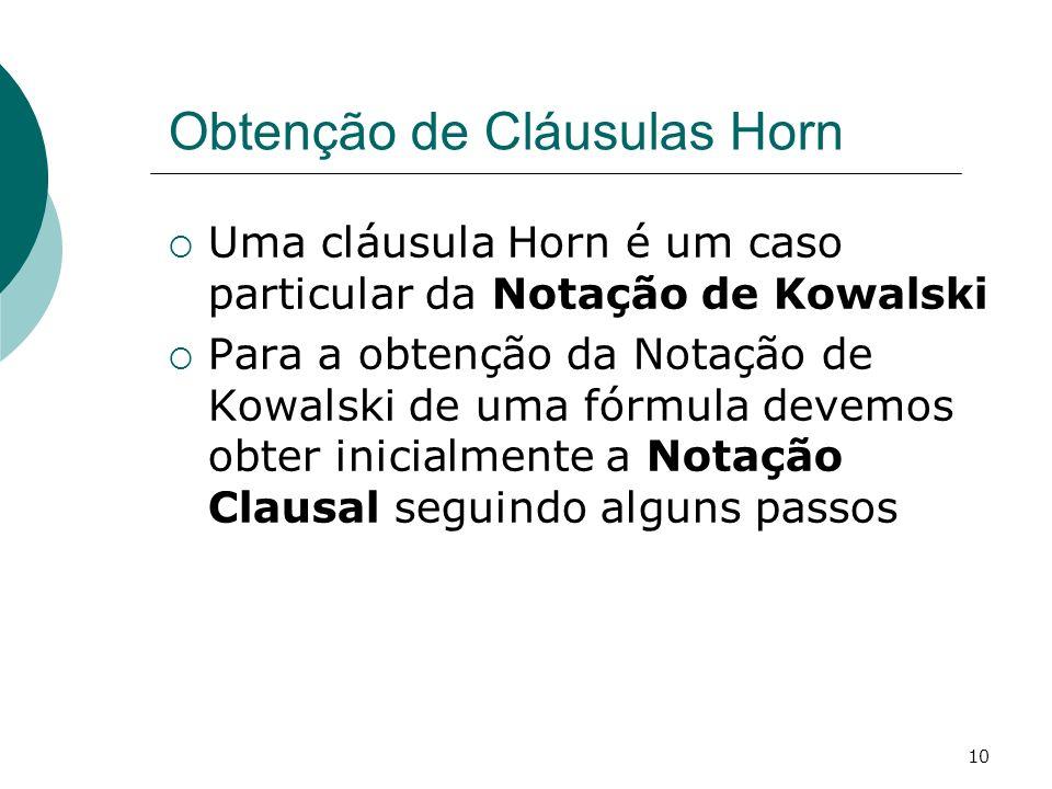 Obtenção de Cláusulas Horn
