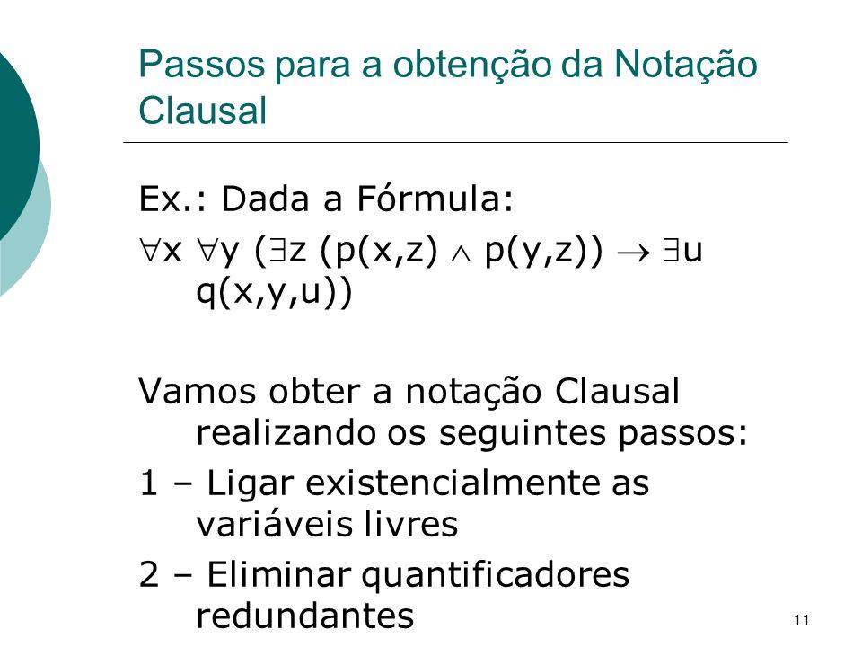 Passos para a obtenção da Notação Clausal