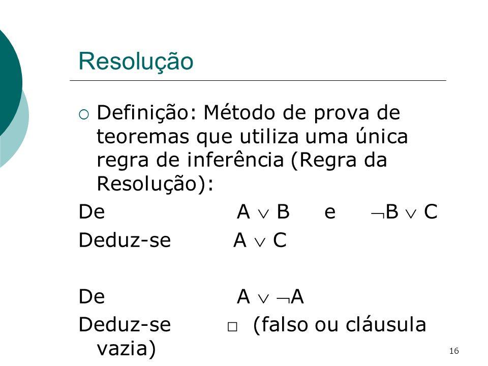 Resolução Definição: Método de prova de teoremas que utiliza uma única regra de inferência (Regra da Resolução):