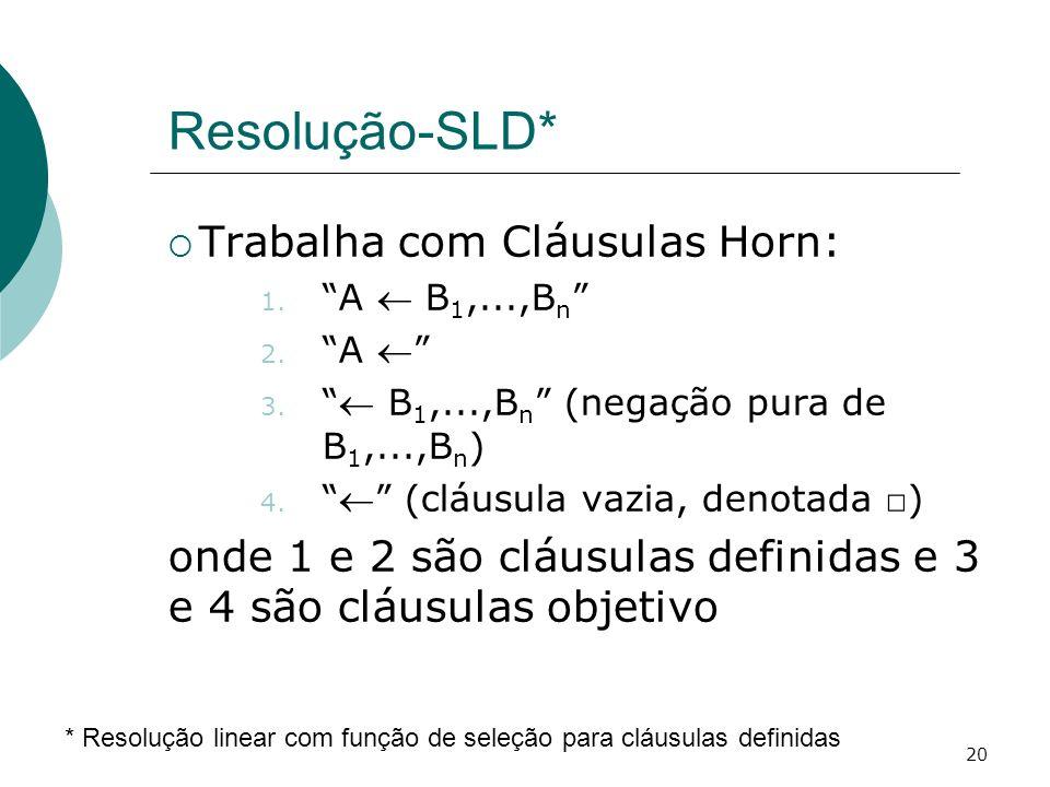 Resolução-SLD* Trabalha com Cláusulas Horn: