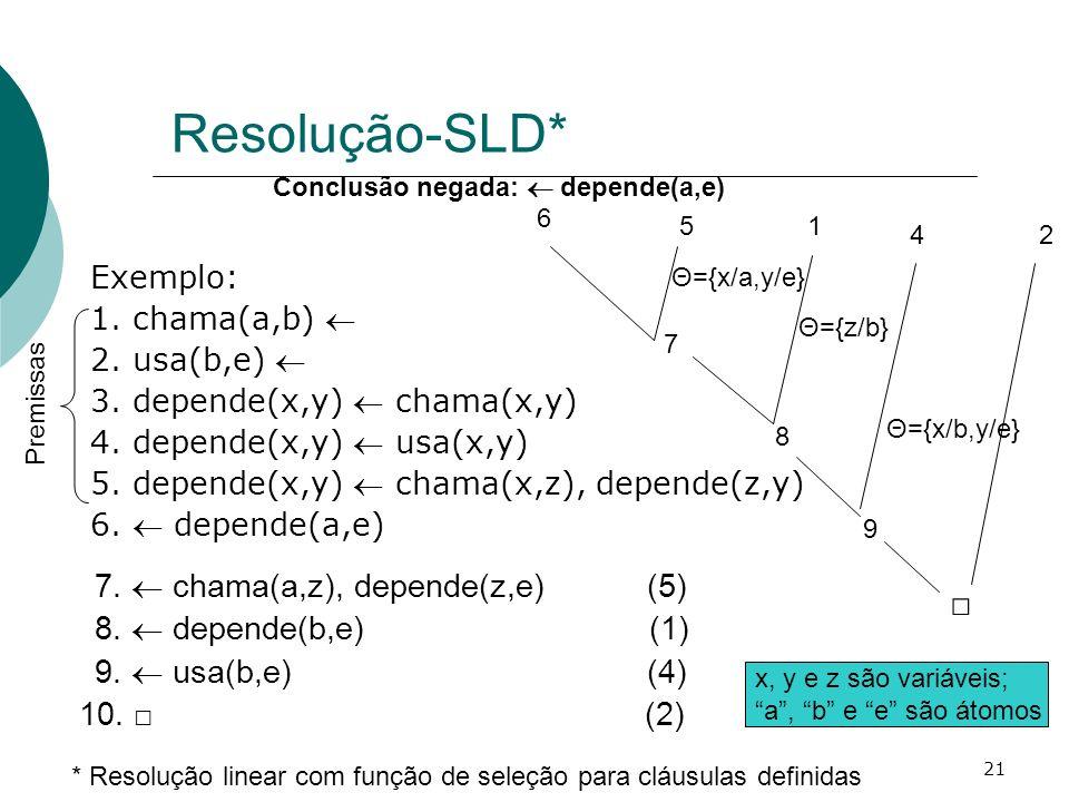 Resolução-SLD* □ 7.  chama(a,z), depende(z,e) (5)