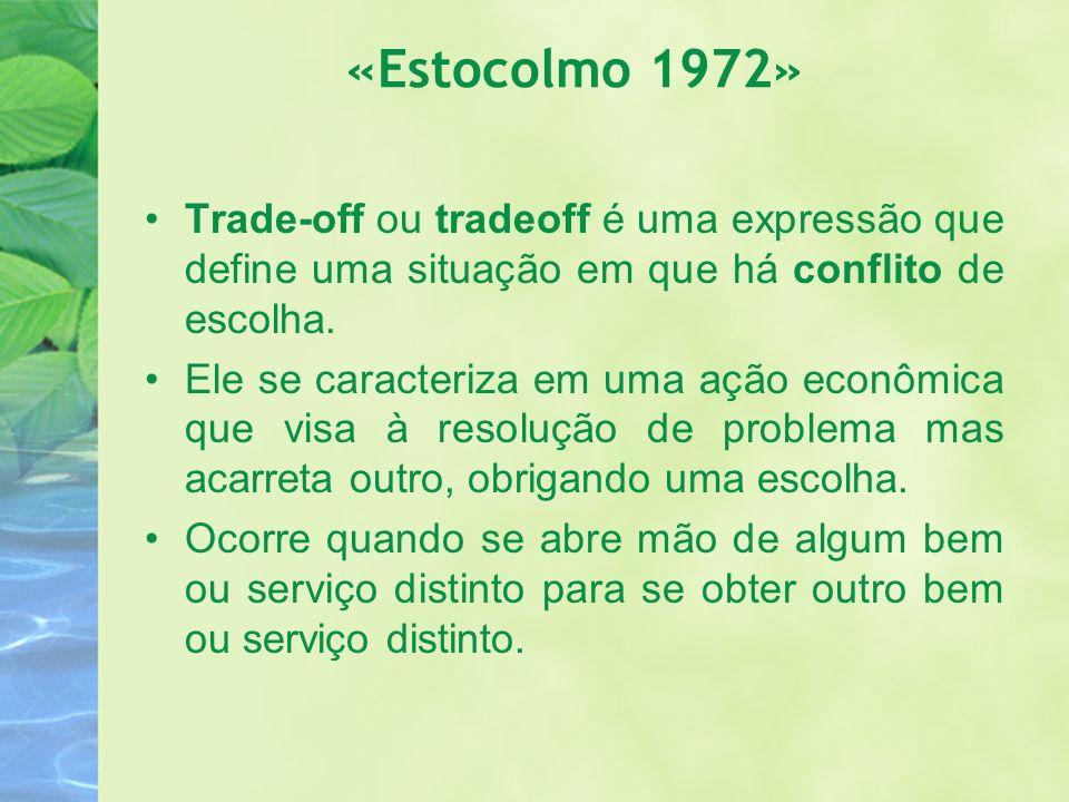 «Estocolmo 1972» Trade-off ou tradeoff é uma expressão que define uma situação em que há conflito de escolha.