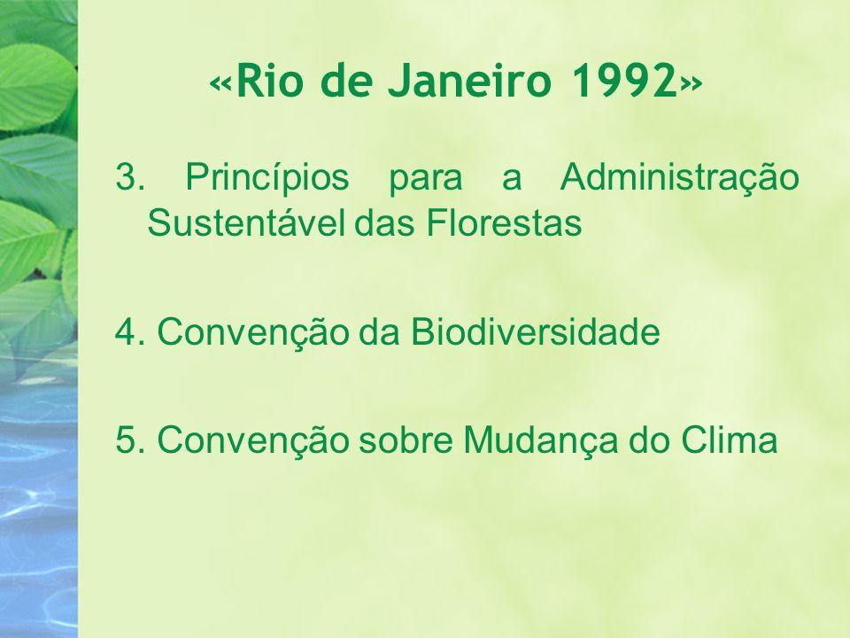 «Rio de Janeiro 1992» 3. Princípios para a Administração Sustentável das Florestas. 4. Convenção da Biodiversidade.