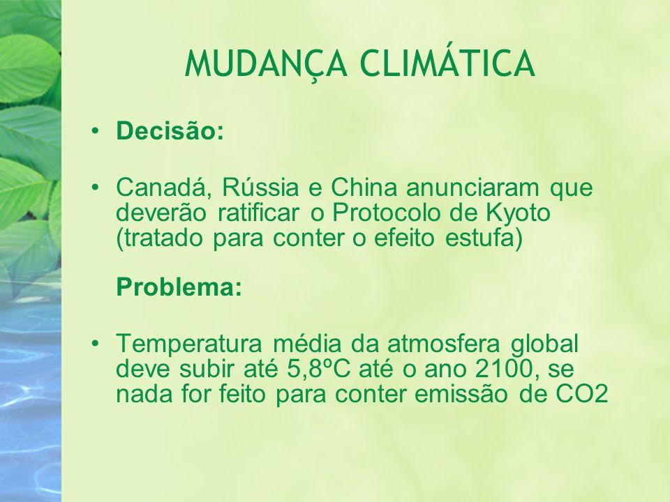 MUDANÇA CLIMÁTICA Decisão: