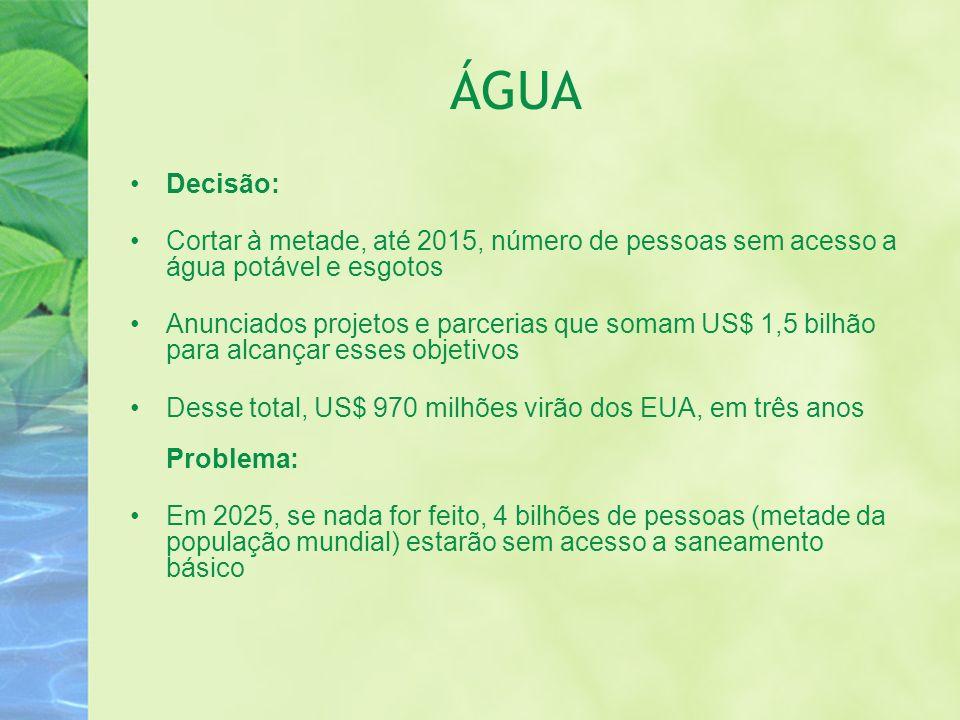 ÁGUA Decisão: Cortar à metade, até 2015, número de pessoas sem acesso a água potável e esgotos.