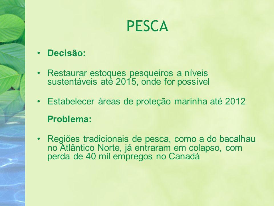 PESCA Decisão: Restaurar estoques pesqueiros a níveis sustentáveis até 2015, onde for possível.