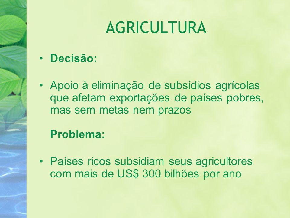 AGRICULTURA Decisão: Apoio à eliminação de subsídios agrícolas que afetam exportações de países pobres, mas sem metas nem prazos Problema: