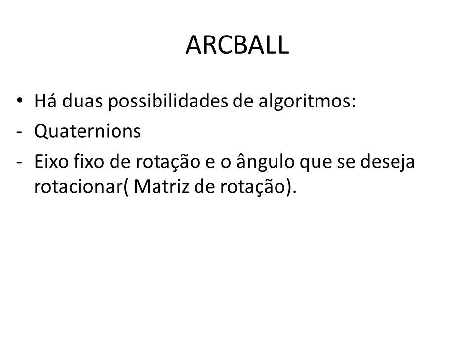 ARCBALL Há duas possibilidades de algoritmos: Quaternions