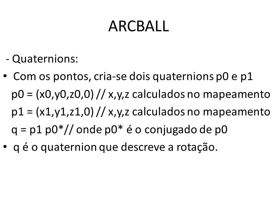 ARCBALL - Quaternions: Com os pontos, cria‐se dois quaternions p0 e p1