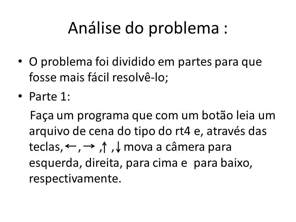 Análise do problema : O problema foi dividido em partes para que fosse mais fácil resolvê-lo; Parte 1: