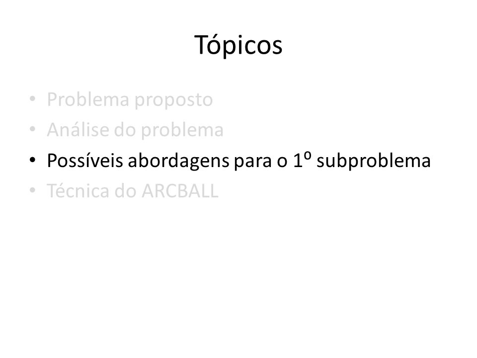 Tópicos Problema proposto Análise do problema