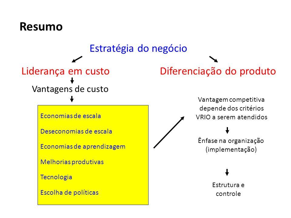 Resumo Estratégia do negócio Liderança em custo