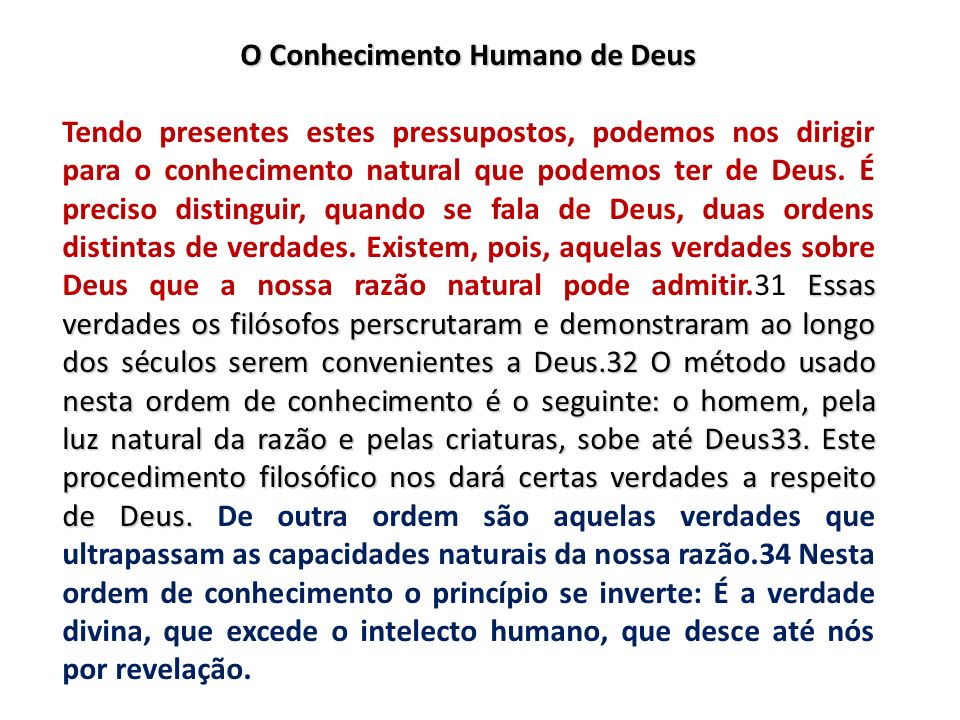 O Conhecimento Humano de Deus