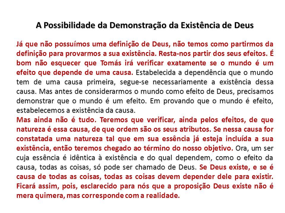 A Possibilidade da Demonstração da Existência de Deus