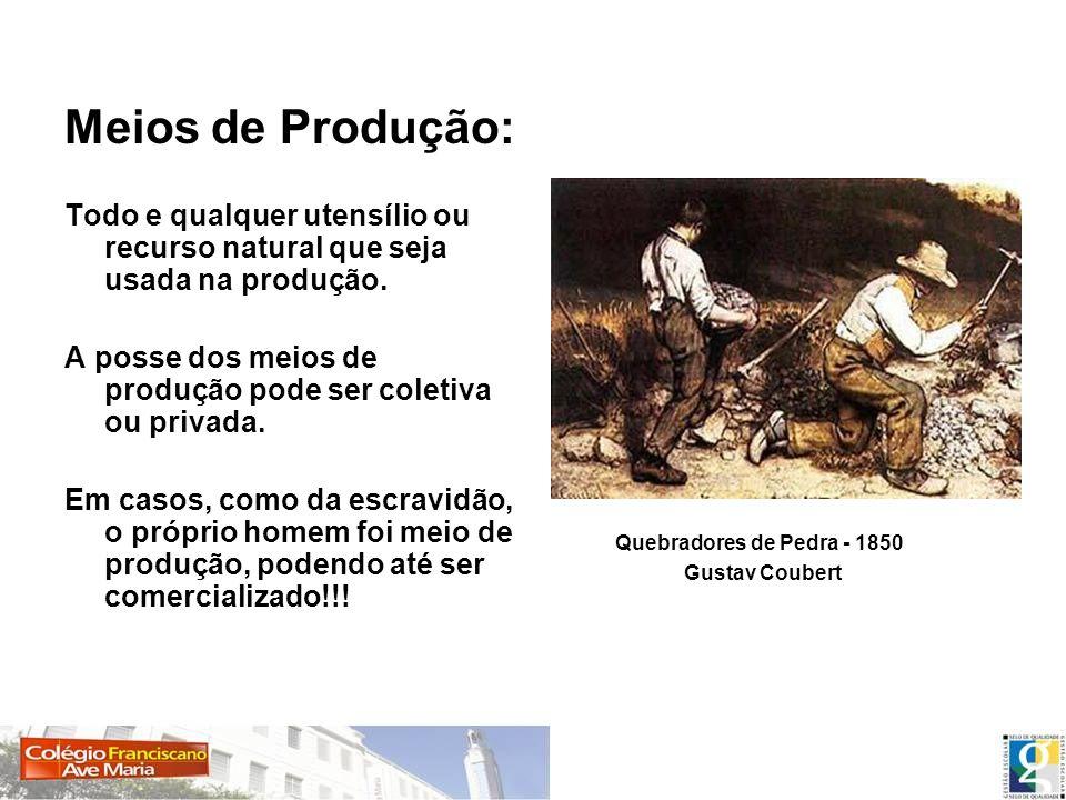 Meios de Produção:Todo e qualquer utensílio ou recurso natural que seja usada na produção.