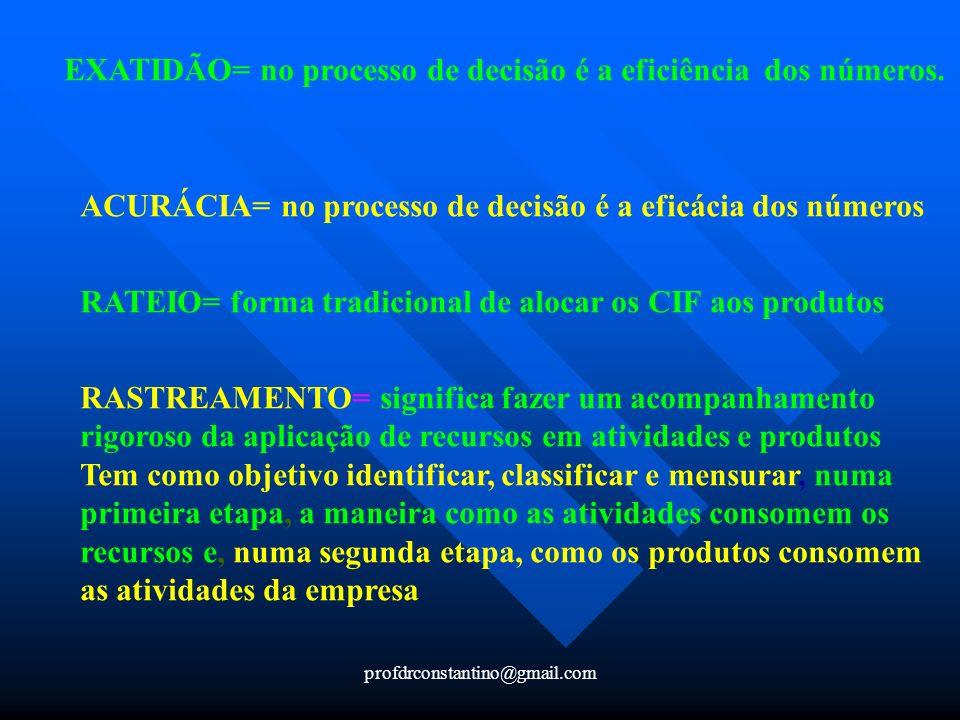 EXATIDÃO= no processo de decisão é a eficiência dos números.