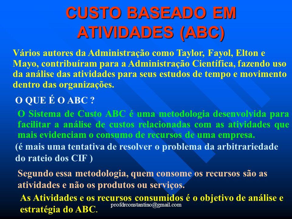 CUSTO BASEADO EM ATIVIDADES (ABC)