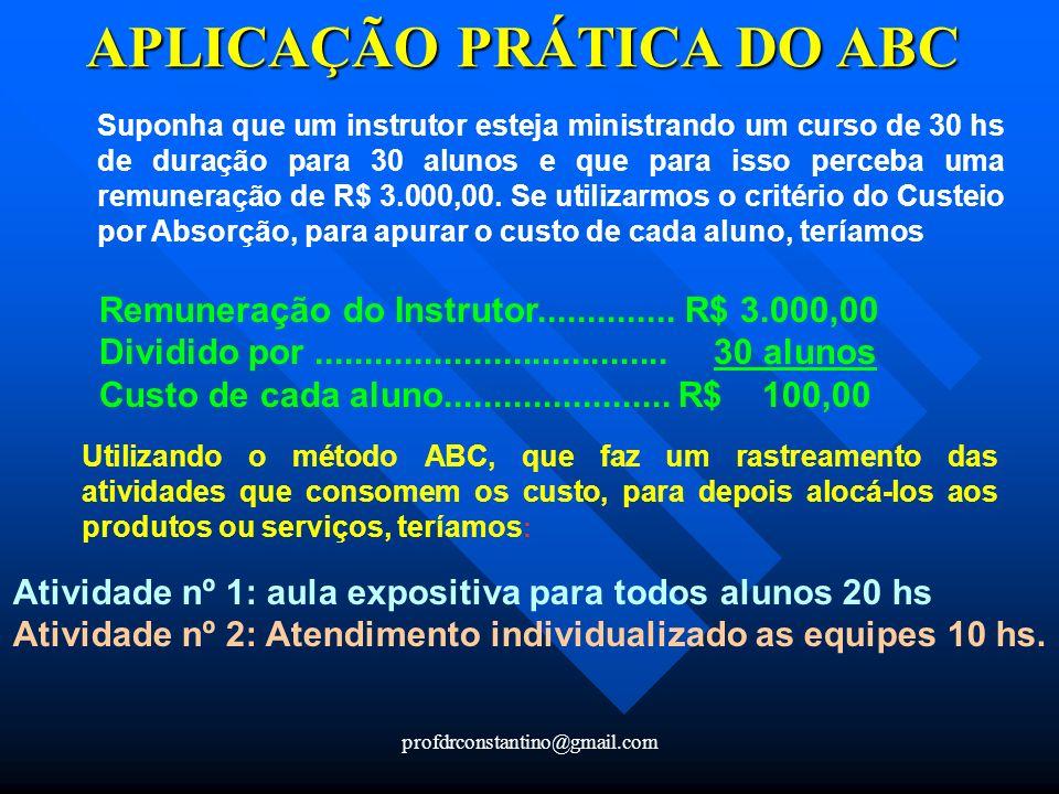 APLICAÇÃO PRÁTICA DO ABC